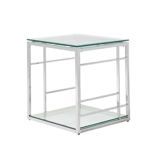 Product photograph showing Nowak Glass Lamp Table Square In Clear With Silver Frame