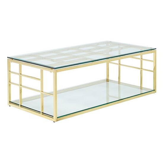 Nowak Glass Coffee Table Rectangular In Clear With Gold Frame
