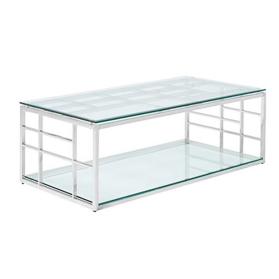 Nowak Glass Coffee Table Rectangular In Clear With Silver Frame