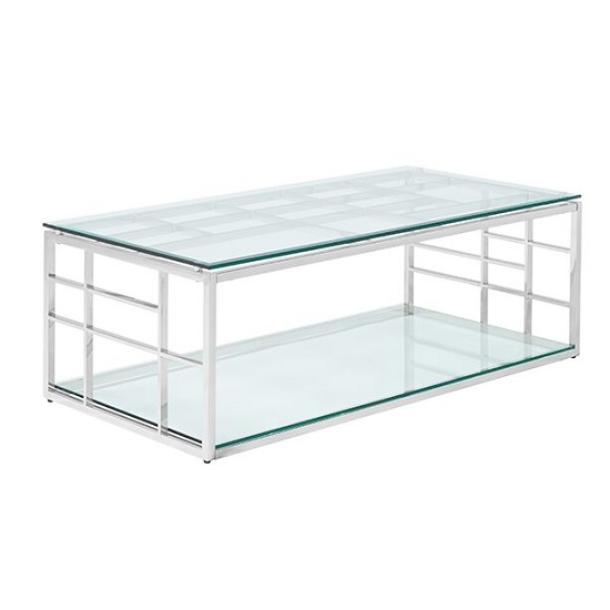 Nowak Glass Coffee Table Rectangular In Clear With Silver Frame_1