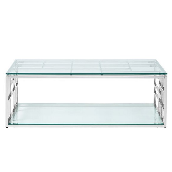 Nowak Glass Coffee Table Rectangular In Clear With Silver Frame_2