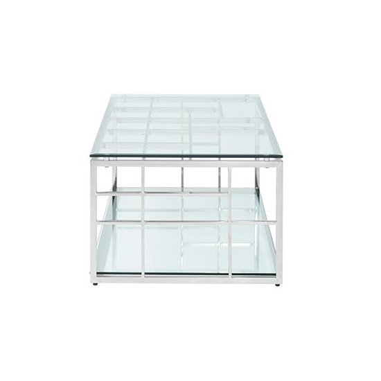 Nowak Glass Coffee Table Rectangular In Clear With Silver Frame_3