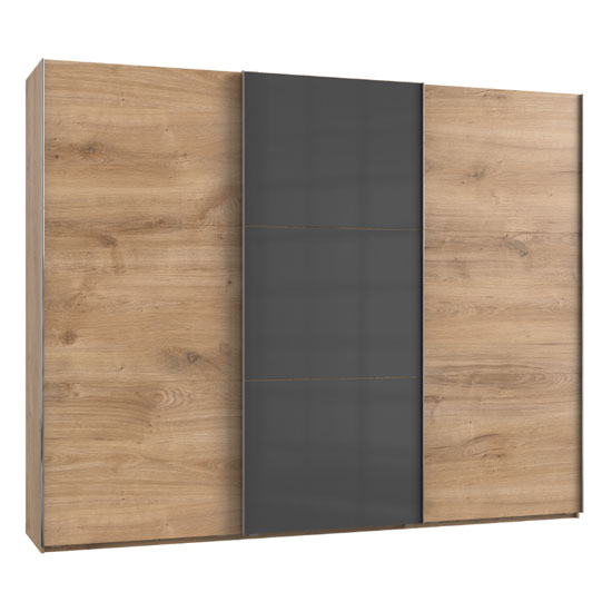 Noyd Mirrored Sliding Wardrobe In Grey And Planked Oak 3 Doors