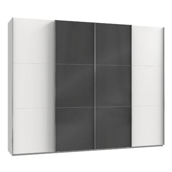 Noyd Mirrored Sliding Wardrobe In Grey And White 4 Doors