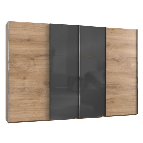 Noyd Mirrored Sliding Wide Wardrobe In Grey Planked Oak 4 Doors