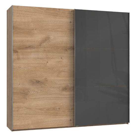 Product photograph showing Noyd Mirrored Sliding Wide Wardrobe In Grey And Planked Oak