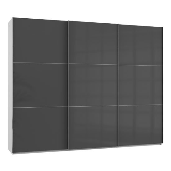 Noyd Wooden Sliding Wardrobe In Grey And White 3 Doors