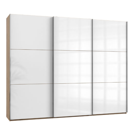 View Noyd wooden sliding wardrobe in white and planked oak 3 doors