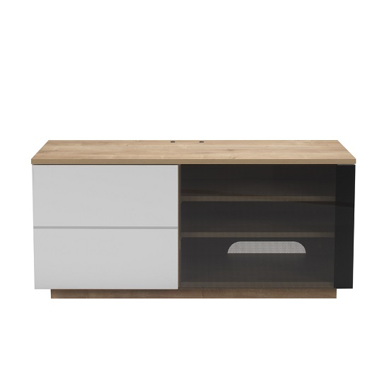 Parin TV Stand In Oak And White With Two Doors_1