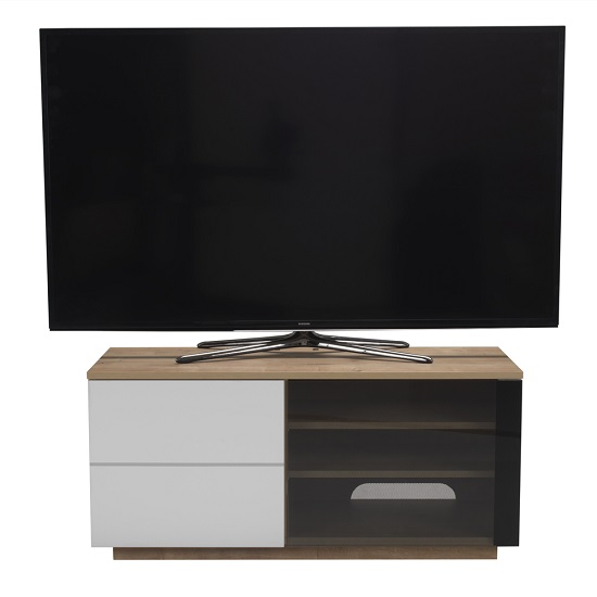 Parin TV Stand In Oak And White With Two Doors_2