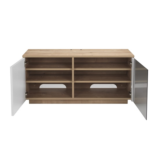 Parin TV Stand In Oak And White With Two Doors_4