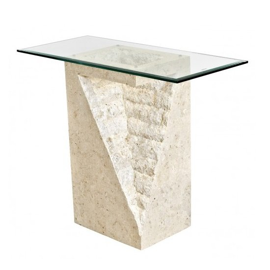 View Numerati glass console table rectangular in mactan stone