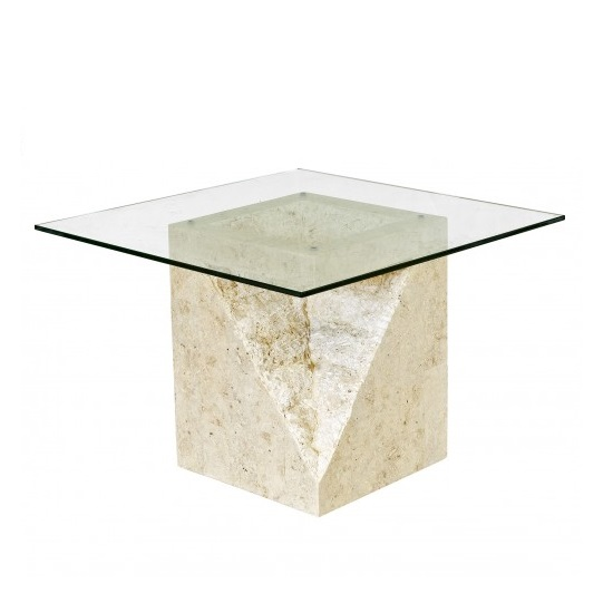 Numerati Glass End Table Square In Mactan Stone