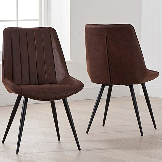 Nunki Antique Brown Fabric Dining Chair In Pair