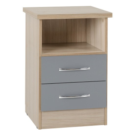 Nunky 2 Drawers Bedside Cabinet In Grey Gloss And Light Oak