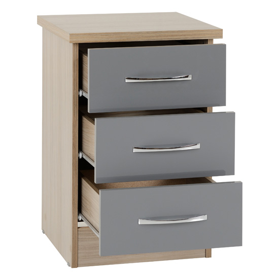 Nunky 3 Drawers Bedside Cabinet In Grey High Gloss And Light Oak_2