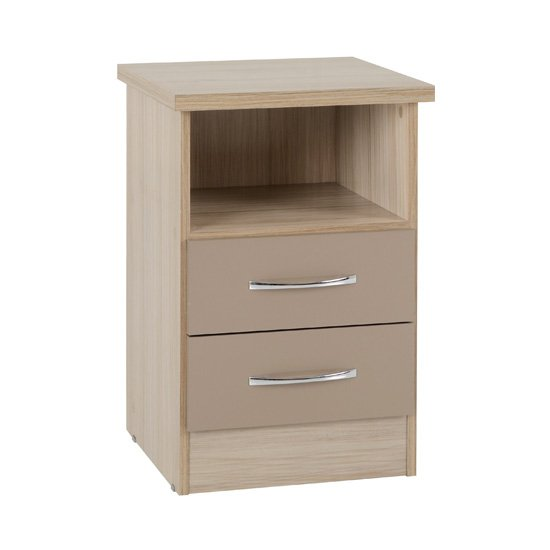 Nunky 2 Drawers Bedside Cabinet In Oyster Gloss And Light Oak
