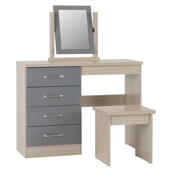 Nunky 4 Drawers Dressing Table Set In Grey Gloss And Light Oak