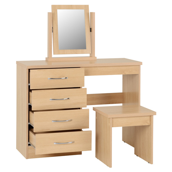 Nunky Dressing Table Set In Sonoma Oak With 4 Drawers_2