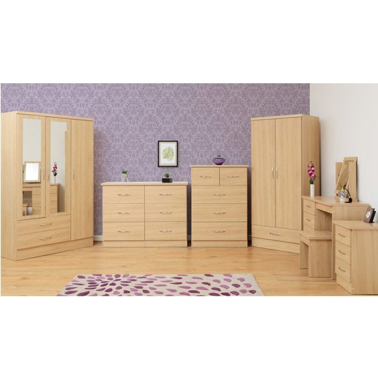 Nunky Dressing Table Set In Sonoma Oak With 4 Drawers_3