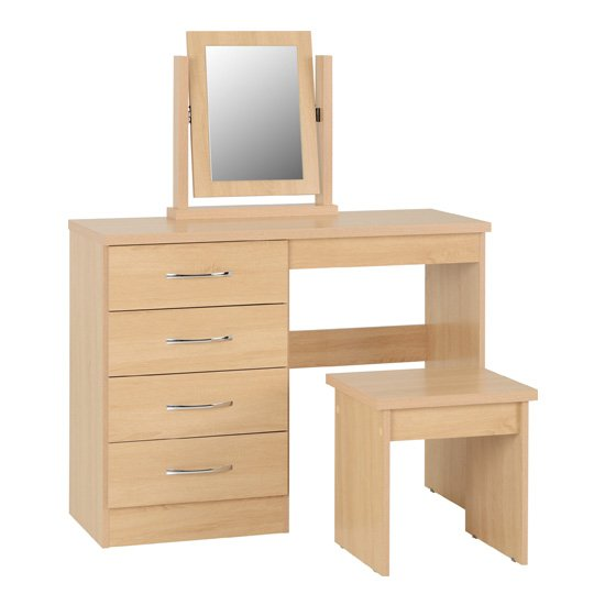 Nunky Dressing Table Set In Sonoma Oak With 4 Drawers_1