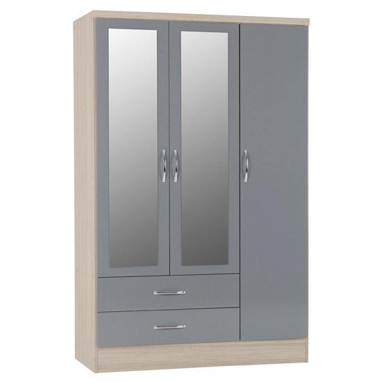 Nunky 3 Doors 2 Drawers Mirrored Wardrobe In Grey Gloss And Oak