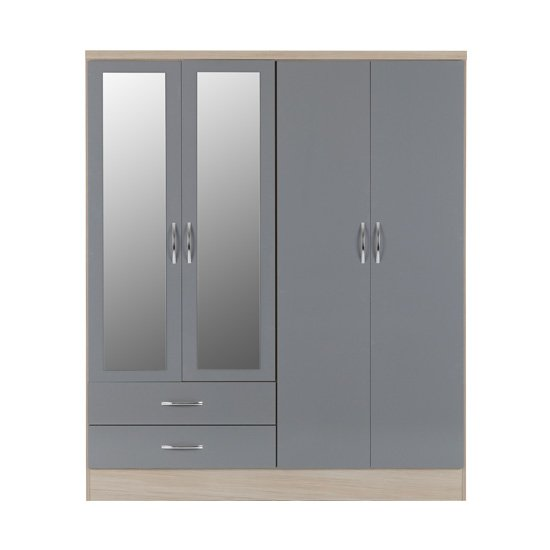 Nunky 4 Doors 2 Drawers Mirrored Wardrobe In Grey Gloss And Oak_2