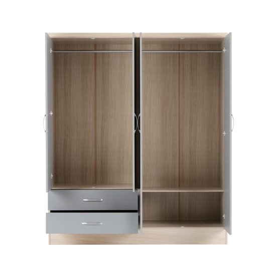 Nunky 4 Doors 2 Drawers Mirrored Wardrobe In Grey Gloss And Oak_3
