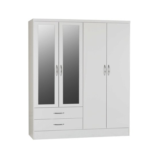 Nunky Mirrored Wardrobe In White Gloss With 4 Doors 2 Drawers