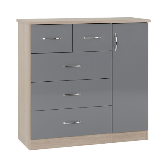 Nunky 5 Drawers Sideboard In Grey High Gloss And Light Oak