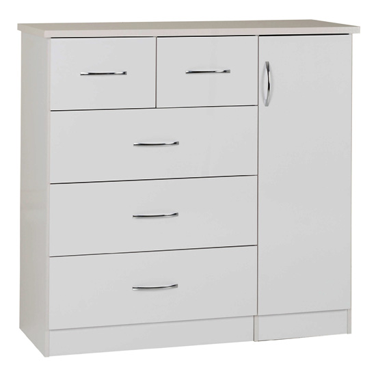 Nunky Wooden Sideboard In White High Gloss With 5 Drawers