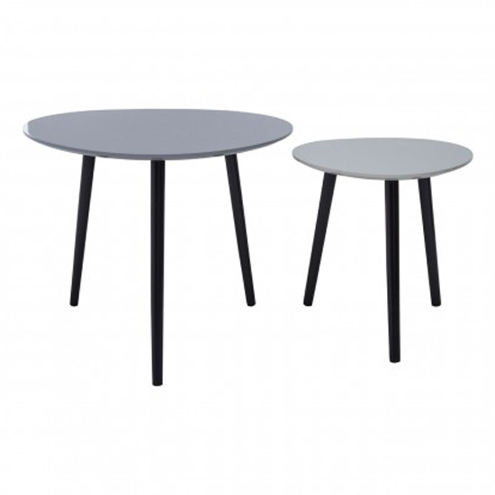 Nusakan Traingular Wooden Set Of 2 Nesting Tables In Grey