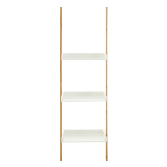 Nusakan Wooden 3 Tiers Ladder Shelving Unit In White And Bamboo_2