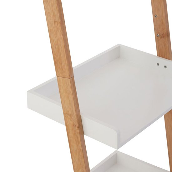 Nusakan Wooden 3 Tiers Ladder Shelving Unit In White And Bamboo_4