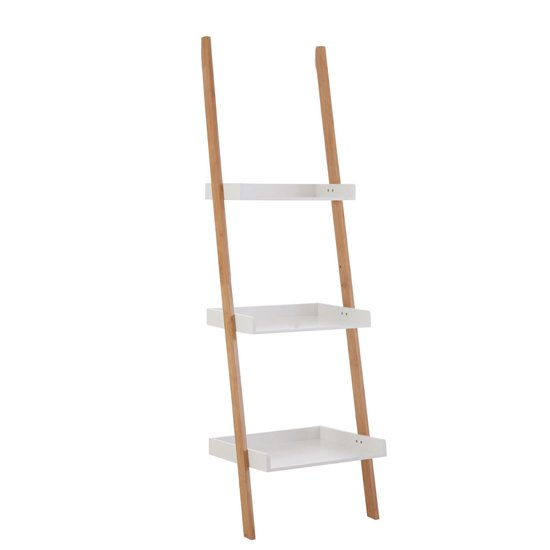 Nusakan Wooden 3 Tiers Ladder Shelving Unit In White And Bamboo_1
