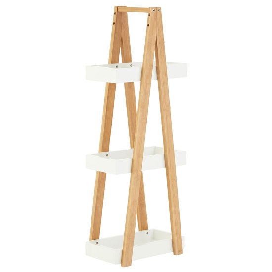 Nusakan Wooden 3 Tiers Shelving Unit In White Gloss And Bamboo