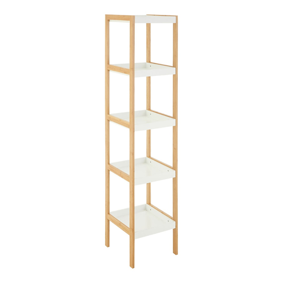 Nusakan Wooden 5 Tiers Shelving Unit In White Gloss And Bamboo