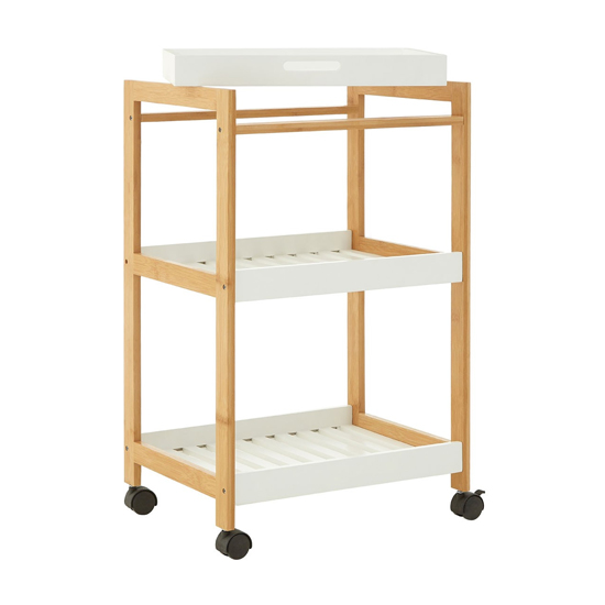 Nusakan Wooden Bathroom Shelving Trolley In White And Oak