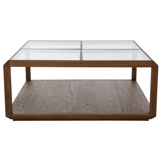 Nushagak Clear Glass Coffee Table With Brown Wooden Frame_2
