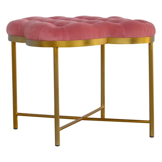 Nutty Velvet Deep Button Footstool In Pink With Gold Base