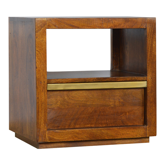 View Nutty wooden bedside cabinet in chestnut with gold bar