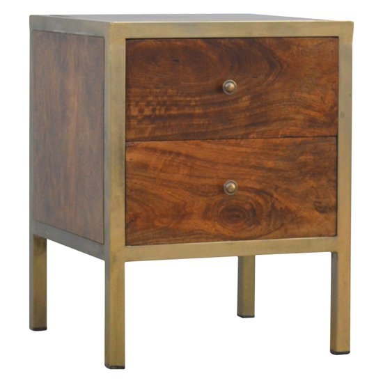 View Nutty wooden bedside cabinet in chestnut with gold iron frame