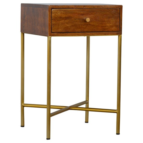 View Nutty wooden end table in chestnut with gold base