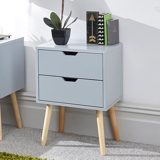 Nyborg Wooden Bedside Cabinet In Light Grey With 2 Drawers