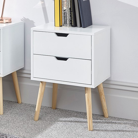 Nyborg Wooden Bedside Cabinet In White With 2 Drawers