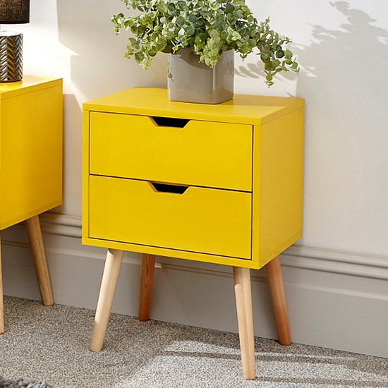 Nyborg Wooden Bedside Cabinet In Yellow With 2 Drawers