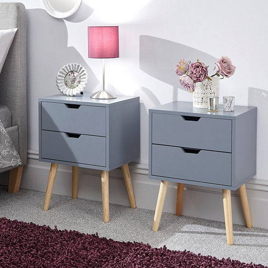 Nyborg Dark Grey Wooden Bedside Cabinet In Pair