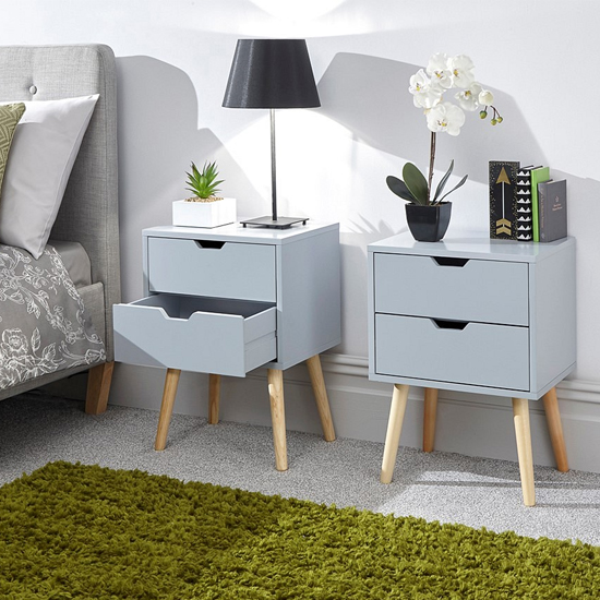 Nyborg Light Grey Wooden Bedside Cabinet In Pair