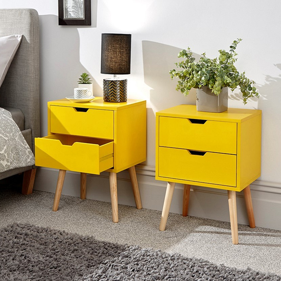 Nyborg Yellow Wooden Bedside Cabinet In Pair
