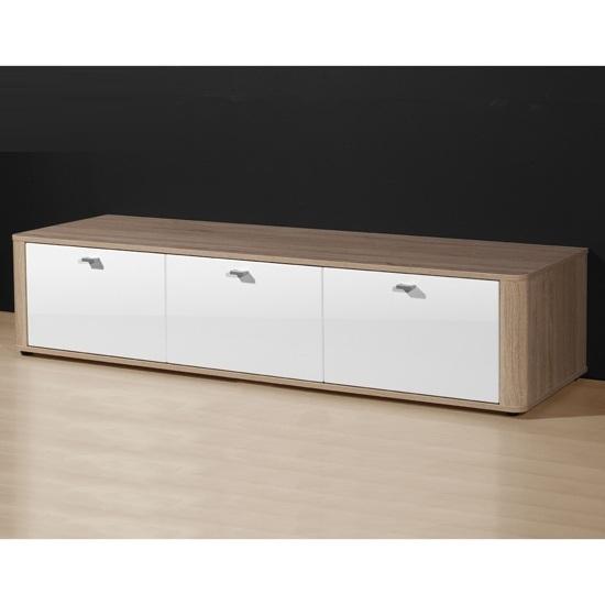 Toscana White High Gloss Coffee Table: Eva Gloss White & Canadian Oak Modern Sideboard, 3043-157